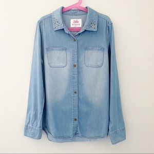 Justice Button Down Jeans Long sleeves Girl Shirt